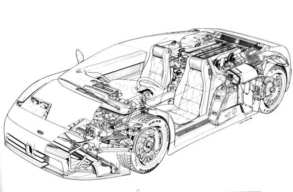 An artistic rendering cutaway of the Bugatti EB110 supercar