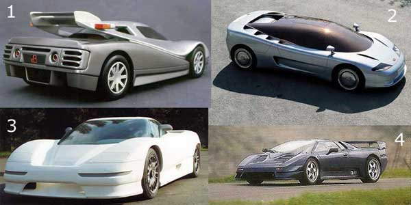 Early concept designs for the Bugatti EB110: 1) Paolo Martin's 110 PM1, 2) Giorgetto Giugiaro's ID90, 3) Nuccio Bertone's interpretation, and 4) Marcello Gandini's favored DMD80