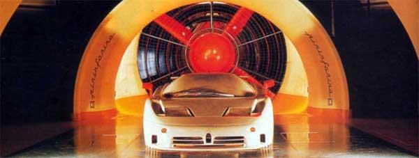 A Bugatti EB110 undergoes testing.