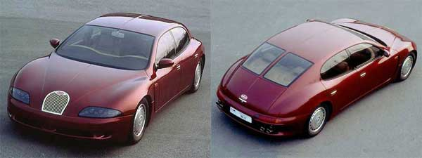 Inspiration for the Porsche Panamera? The EB112 sedan concept was introduced in 1993 and could have saved Bugatti, but it was never built.