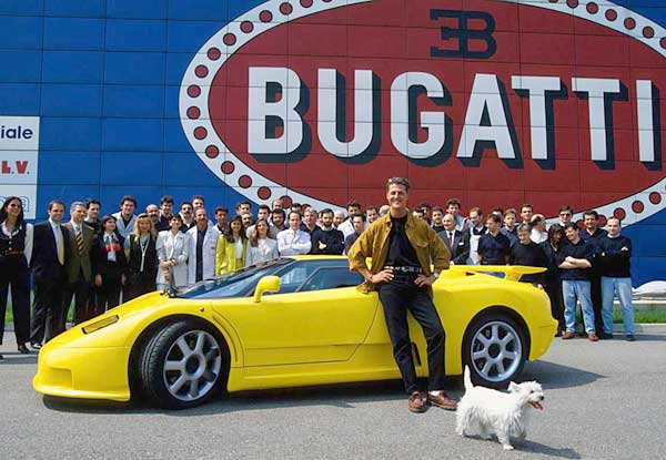 In April of 1994 Michael Schumacher visited Bugatti Automobili in Campogalliano to pick up his yellow EB110 SS. His EB110 crashed in 1994, was rebuilt, and in 2003 was sold to Modena Motorsport, a Germany-based Ferrari garage.