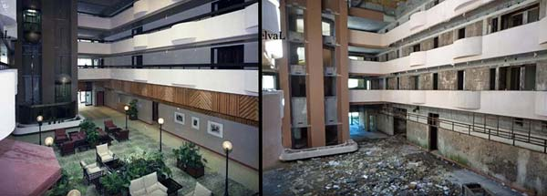 Monte Palace Hotel, Sao Miguel, Azores atrium before and after photo