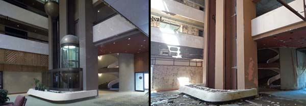 Monte Palace Hotel, Sao Miguel, Azores atrium elevator bay before and after photo