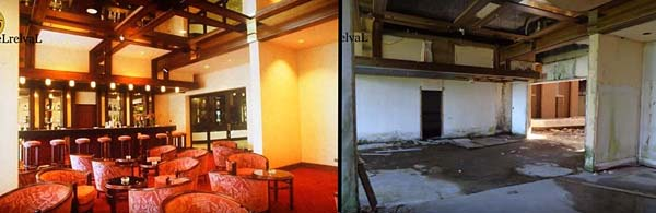 Before and after of the bar in abandoned Monte Palace Hotel, Sao Miguel, Azores