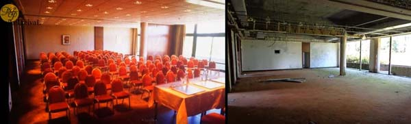 Before & after of a conference room at the abandoned Monte Palace Hotel in Sao Miguel, Azores