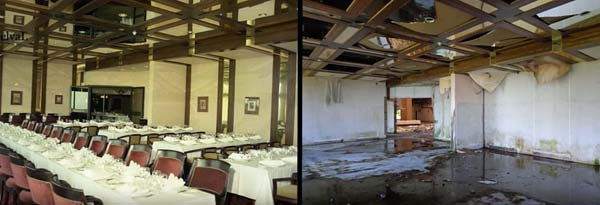 Dining room at the abandoned Monte Palace Hotel in Sao Miguel, Azores (then and now)