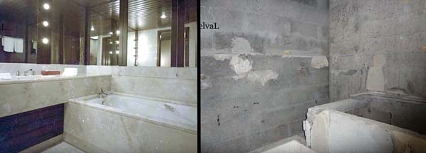 A guest bathroom in the abandoned Monte Palace Hotel, Sao Miguel, Azores, then and now