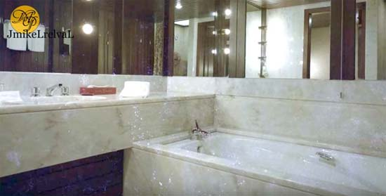 A guest bathroom in the abandoned Monte Palace Hotel, Sao Miguel, Azores, as they appeared in the 1980s