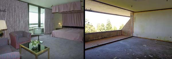 A guest room in the abandoned Monte Palace Hotel, Sao Miguel, Azores, then and now
