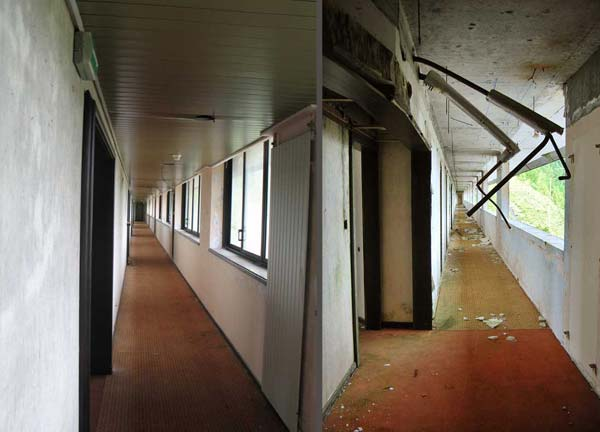 This photo shows the deterioration of an abandoned Monte Palace, Sao Miguel, Azores, corridor between 2009 (L) and 2013 (R)