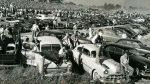 Fans gather around North Wilkesboro Speedway in 1949