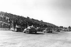 NASCAR Fans at North Wilkesboro Speedway watch the 1950 Wilkes 200.