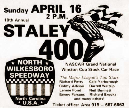 Ad for final Gwyn Staley 400 race at North Wilkesboro Speedway, circa 1978