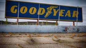 Remnant from the Goodyear sponsorship at North Wilkesboro Speedway.