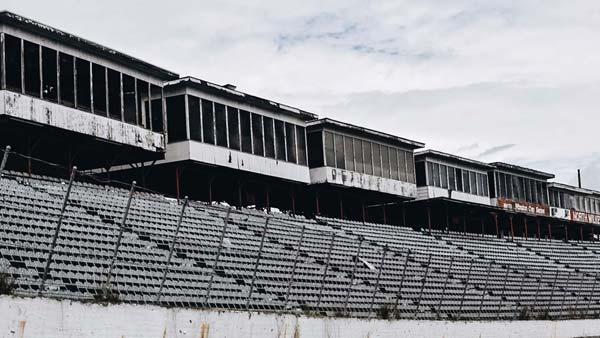 The grandstands at North Wilkesboro Speedway deteriorate.