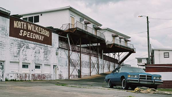 North Wilkesboro Speedway main entrance with Enoch's Pontiac Bonneville