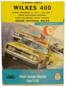 Program for the 1971 Wilkes 400 at North Wilkesboro Speedway.