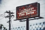An old NASCAR Winston Cup sign deteriorates at North Wilkesboro Speedway.