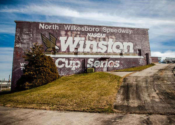Some buildings at North Wilkesboro Speedway still have their Winston Cup signage.