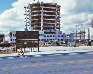 Construction of the new Nueces County Courthouse underway, circa 1975.