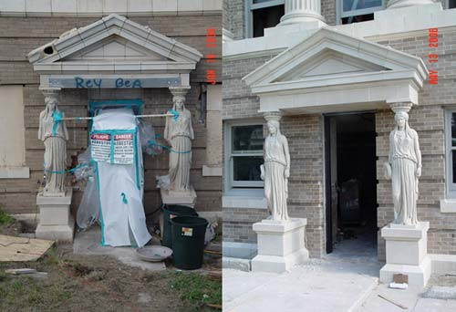 Nueces County Courthouse south entrance caryatid pillars, before (2004) and after (2006) renovation.
