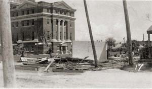 Damage done by Hurricane Celia around the courthouse was extensive, circa 1970.