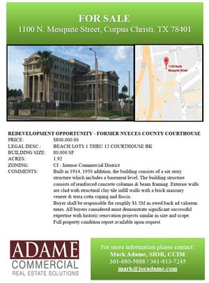 For Sale flyer for the 1914 Nueces County Courthouse.