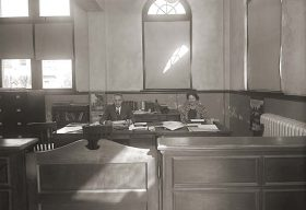 Office of the Justice of the Peace, in photo are Justice Earl Wright and his secretary Molly McTiernan.