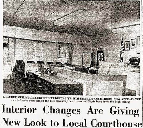 1962 news article shows off new updates at the courthouse, including lowered false ceilings & fluorescent lighting.