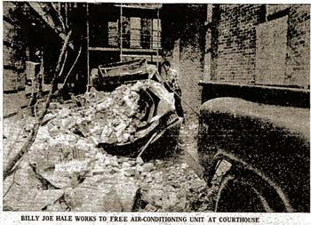 In June of 1972, falling terra cotta destroyed a several-ton air conditioning unit next to the courthouse.
