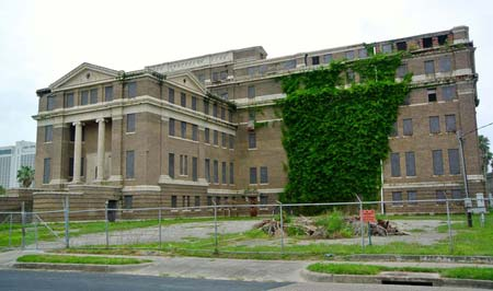 Vine growth dominated the north side of the 1914 Nueces County courthouse in 2015.