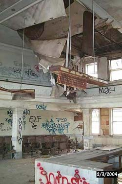 The courtrooms in the former Nueces County Courthouse building have been vandalized, as seen in this 2004 photograph.