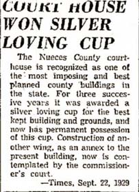 Nueces County Courthouse won the silver loving cup news article from 1929