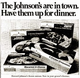 Howard Johnson's frozen food ad 1968