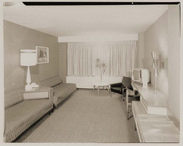 Interior of an early Howard Johnson Motor Lodge guest room