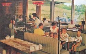 Dining in a Howard Johnson's restaurant, 1960s