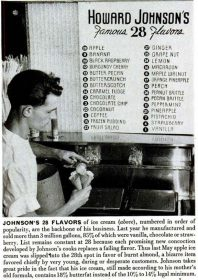 An image accompanying a 1948 newpaper article shows Howard Johnson's 28 flavors at the time.