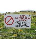Lulworth live firing range sign in Tyneham, Dorset