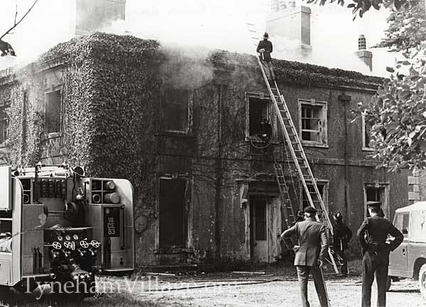 Tyneham rectory on fire 1960s